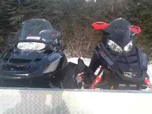 Two Polaris Skidoos & Trailer For Sale