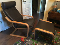 Ikea Poang Leather Chair & Ottoman