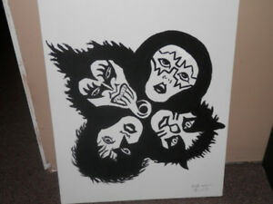 ORIGINAL PAINTING OF KISS FROM THE ROCK N ROLL ALBUM