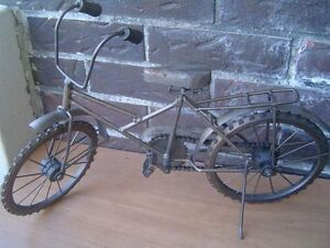 metal bicycle sculpture, 20 inches long