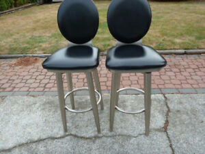 Leather and Stainless Steel Bar Stools LIKE NEW !! OBO