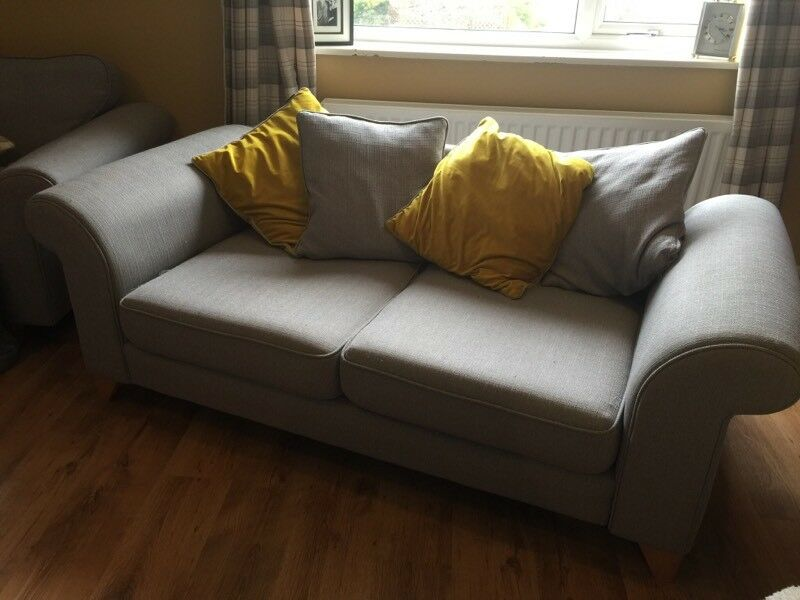 Dfs Grey Sofa With Scatterback Cushions Grey Amp Mustard