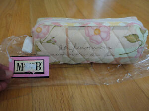 Maggi B quilted fabric makeup pouch brush bag NWT