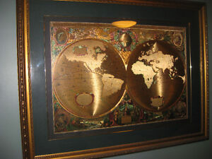 EXCEPTIONAL - 1630'S LATIN GLOBE OF THE WORLD IN METALLIC FINISH