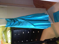 Turquoise thick satin gown