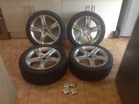 Lexus is200 4 X 17 inch alloy wheels 114.3 225 45 17 tyres 98-05 is 200 is300 sportcross toyota