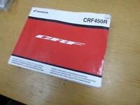 Honda CRF 450 13 OWNERS MANUEL