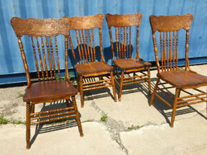 1920s oak press back dining chairs, perfect cottage furniture