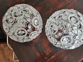 Two crystal ball lamps