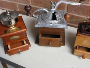 VINTAGE OLD FASHION COFFEE MILL GRINDERS, ANTIQUE, 416-483-1730