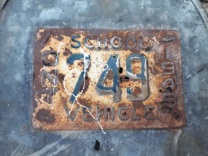 1949 school vehicle licence plate