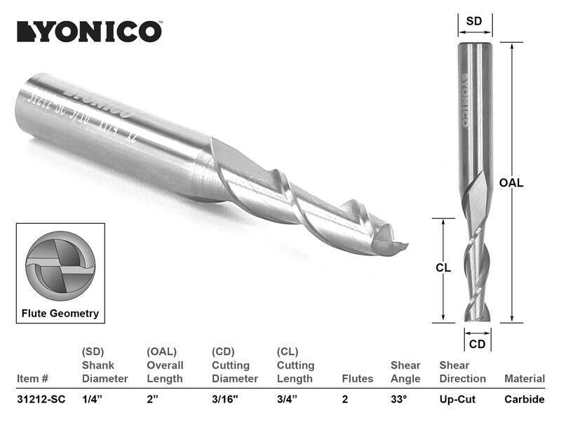 "3/16"" Dia. Upcut Spiral End Mill CNC Router Bit - 1/4"" Shank - Yonico 31212-SC"