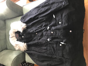 Brand new black faux fur lined parka
