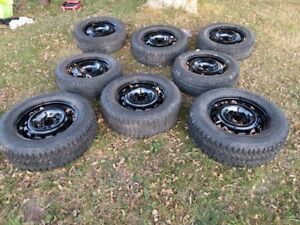 four  215 65 16  winter tires and steel rims