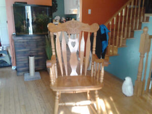 Solid oak rocking chair