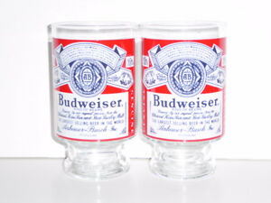 2 VINTAGE 1970s LARGE BUDWEISER BEER GLASSES - MINT