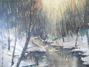 "Winter Landscape Signed,Numbered,  by Paul Mathews, ""Winter Sun"" Stratford Kitchener Area image 3"