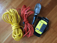 50' extension cord + GFCI power block + work lamp with 33' cord
