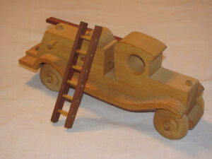 Reduced - Hand-crafted Wooden Hook-and-Ladder Fire Truck model Edmonton Edmonton Area image 2