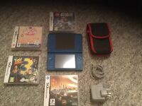 Nintendo DSi XL Blue great condition & 4 games, charger @ case £50