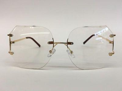 OVERSIZE VINTAGE RETRO Style Clear Lens * Sun Glasses Rimless Gold Fashion Frame