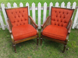 Vintage pair of Arm Chairs with red valour upholstery.