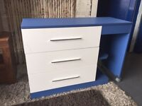 White and Blue Chest of Drawers / Desk