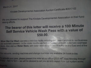 TWO Gift Certifcates for Vehicle wash and glass repair  for sale