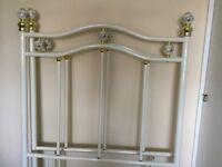 For sale 1 white wrought iron headboard single