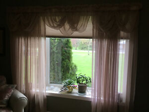 Living and dining room curtains with rods