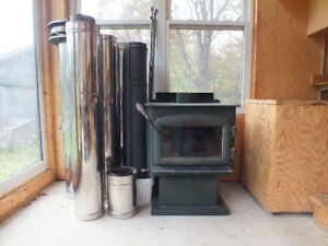 Wood stove & insulated chimney