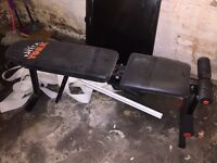 Home gym weights bench + over door pull up bar