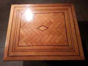 Antique Custom hand made wooden Herring Bone Pattern table.
