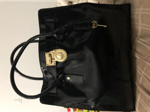Gently Used Michael Kors Black Patent Leather Hamilton Tote