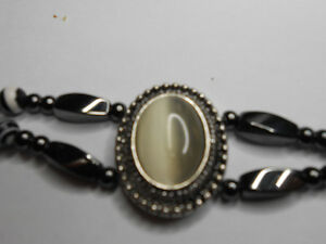 Magnetic Hematite Bracelet With White Oval Cats Eye Stone