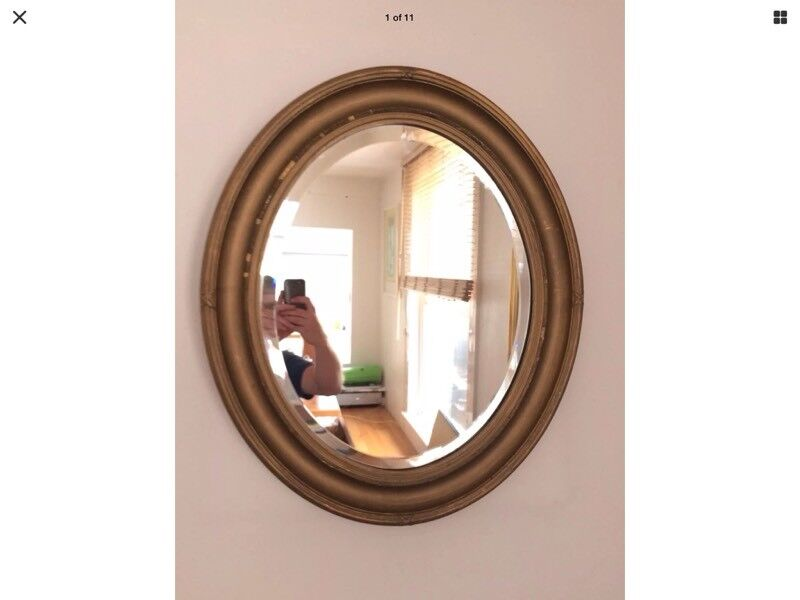 Large Oval Mirror - Shabby Chic