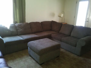 Sectional Couch with Queen Sofa Bed and Ottoman