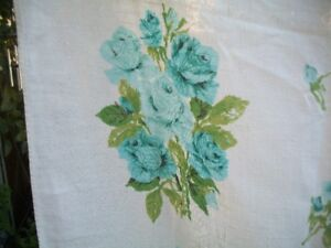 Vintage Blue Rose and White Tablecloth