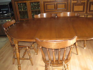 Sold Maple Dining Table with 4 Matching Chairs
