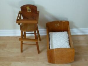Antique Doll's Cradle and High Chair
