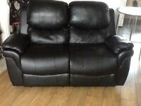 Black 2 seater leather recliner sofa
