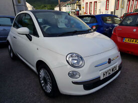 2012 Fiat 500 1.2 Lounge * 1 Previous Owner * Panoramic Roof *Low Mileage* White