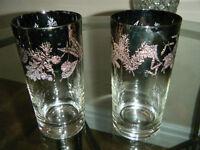 STERLING SILVER trimed GLASSES antique