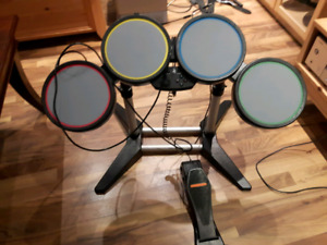PS3 ROCK BAND drums, guitar and games.