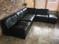 100% black leather corner sofa