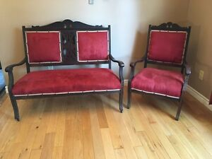 Settee and chair - antique