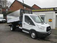 2016 16 FORD TRANSIT 2.2 350 DRW, MWB TIPPER, 1 STOP ALLOY HIGH SIDED BODY, 125