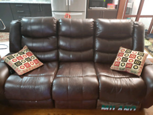 SOFA SET COUCH RECLINER BONDED LEATHER HOME THEATER SEAT CHAIR