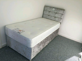 Brand New 3ft (single) Crushed Velvet bed with a