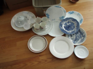 ASSORTED OLD DISHES ,CUPS,BOWLS